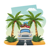 cartoon car with luggage on roof tropical road vector illustration