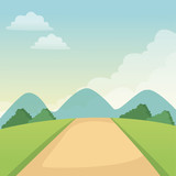 landscape road mountains sky nature vector illustration