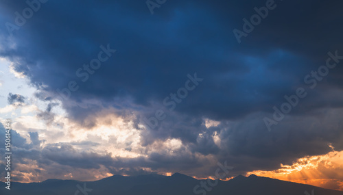 Colorful dramatic tropical sky background