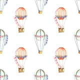 Seamless pattern with watercolor festive air balloons (aerostats), hand drawn isolated on a white background