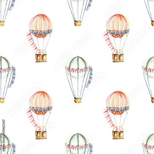 Seamless pattern with watercolor festive air balloons (aerostats), hand drawn isolated on a white background - 150622567