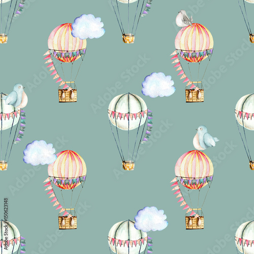 Seamless pattern with watercolor festive air balloons, clouds and cute birds, hand drawn isolated on a blue background - 150623148