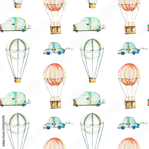 Seamless pattern with watercolor air balloons and cars, hand drawn isolated on a white background - 150623398