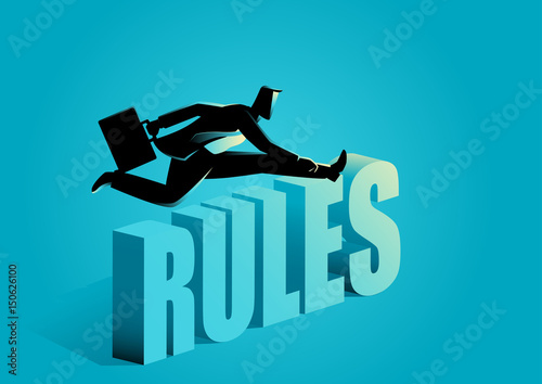 Businessman breaking the rules