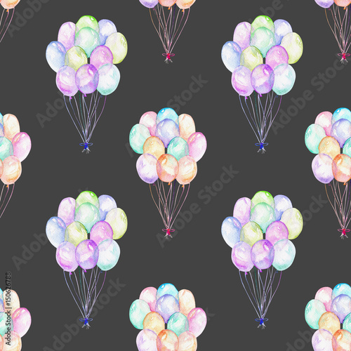 Seamless pattern with watercolor bundle of balloons, hand drawn isolated on a dark background - 150626788