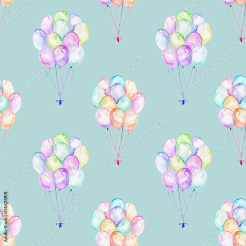 Seamless pattern with watercolor bundle of balloons, hand drawn isolated on a blue background - 150626901