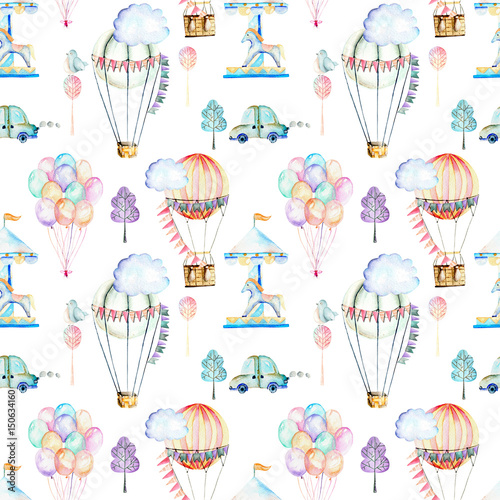 Seamless pattern on weekend theme; watercolor air balloons, aerostats, carousel and cars, hand drawn isolated on a white background - 150634160
