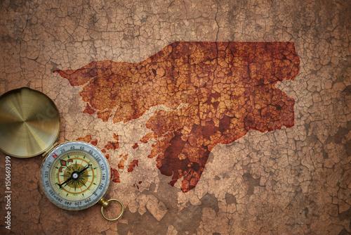 Plakat map of malawi on a old vintage crack paper