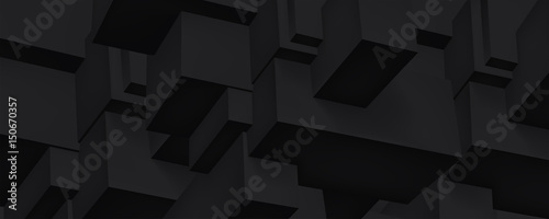 Volume black geometric construction, 3d cubes dark background, shapes, abstraction wallpaper, vector design for you project - 150670357