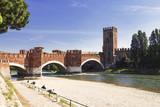 Ponte Scaligero over the river Adige and the castle of Castelvecchio, Verona, Italy