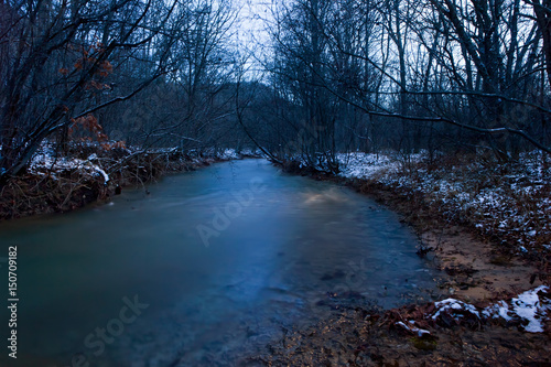 Night winter river in the mountains of Crimea