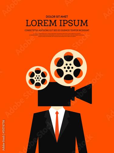 Movie and film retro vintage poster background