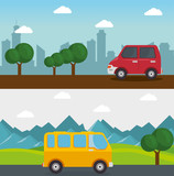 Colorful design with car, minibus, mountain landscape and city skyline. Vector illustration. - 150776955