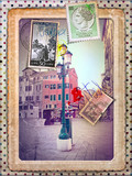 Holidays in Italy,vintage postcard and stamps
