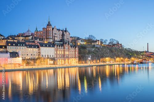 Staande foto Stockholm View of Stockholm city skyline at night in Sweden