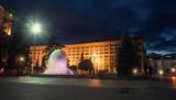 Maydan Nezalezhnost. Independence Square. Fountain on Khreshchatyk. Nighttime Kiev.