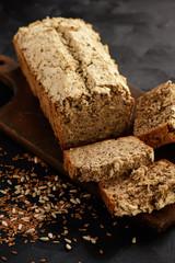 Homemade wholegrain buckwheat bread loaf.