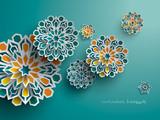 Paper graphic of islamic geometric art. Islamic decoration. Ramadan Kareem is the name of the glorious month of Ramadan. - 150903739