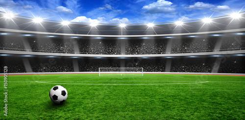 Soccer ball on green stadium Poster