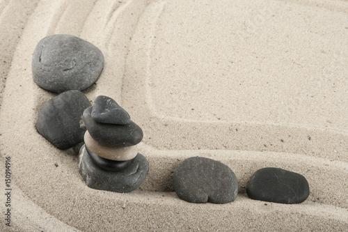 Fotobehang Zen Stenen Sea stones in the sand