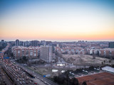 morning traffic jams on Madrid. Aerial view of Madrid