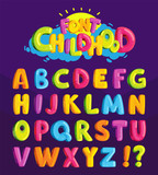 Children's font in the cartoon style of