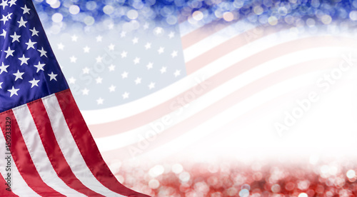 Foto Murales American flag and bokeh background with copy space for 4 july independence day and other celebration