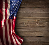 Patriotic American Celebration - Aged Usa Flag On Vintage Wood  - 150964580