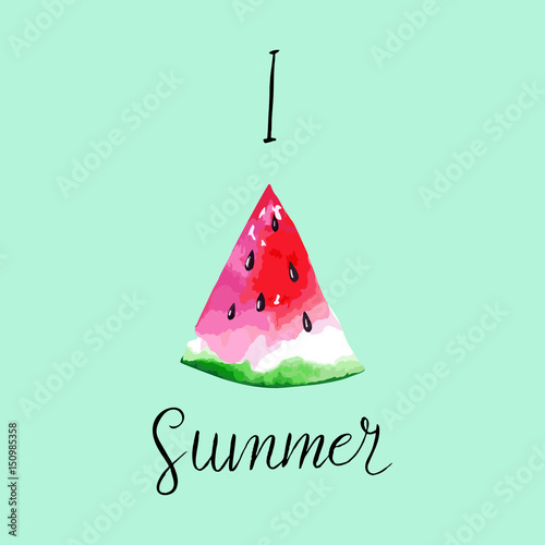 Abstract summer card with watercolor watermelon and handwritten I love summer. Vector illustration - 150985358