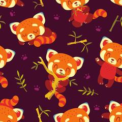 vector cartoon red panda seamless pattern