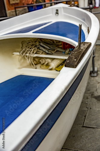 Fishing boat on land