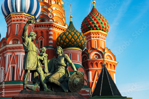 Poster St basil's Cathedral at Red Square in Moscow, Russia