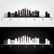 Chicago USA skyline and landmarks silhouette, black and white design.