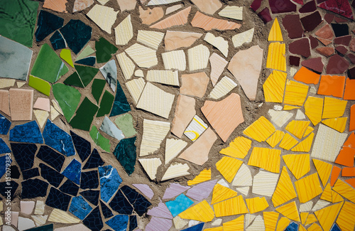 Póster Detail of mosaic. Imitation of the style of Antoni Gaudi.