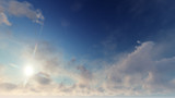 Light Blue sky with many beautiful white clouds