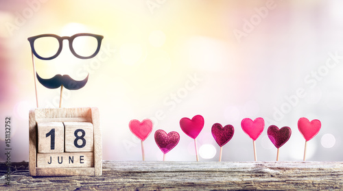 Fathers Day - Calendar Date With Hearts Decoration