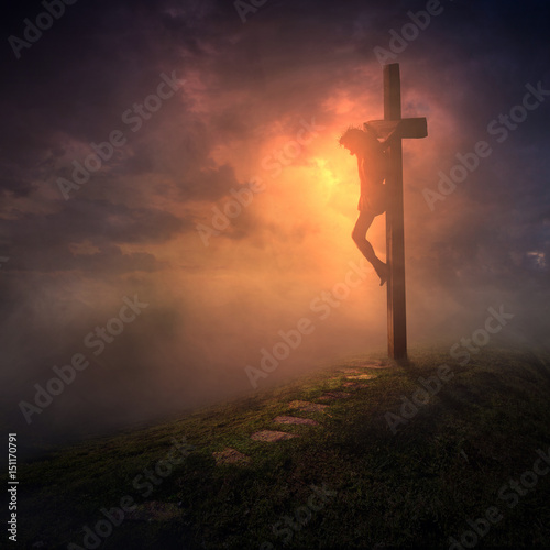 Juliste The cross with dark skies