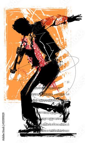 Fotobehang Art Studio Jazz trumpet player