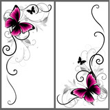Set of beautiful corners with butterfly and decorative lines. Vector ornament for page decor