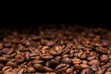 Coffee beans. Dark background with copy space, close-up - 151199597