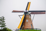 View on wooden windmill by Bruges in Belgium