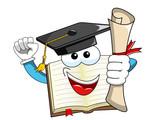 Book Mascot cartoon graduate holding certificate isolated - 151215589