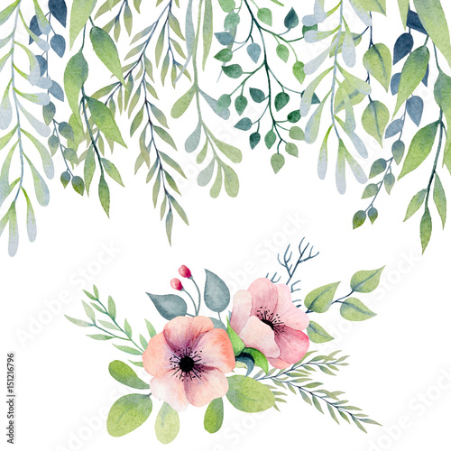 Watercolor border with leaves and flower arrangement - 151216796