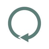 Icono plano flecha circular gris en fondo blanco - 151216949