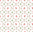 Floral pattern, pink buds and flowers seamless white background, vector. Pink flowers on a white field. Colored, flat background. The floral decoration. Circles of flowers.   - 151217967