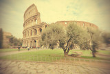 Great Colosseum, Rome, Italy, in vintage style. Intentionally blurred