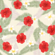 Seamless pattern of tropical flowers  - 151218779
