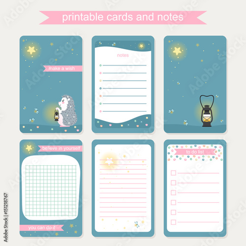 Diary Cover And Page Template With Hedgehog