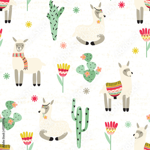 Seamless pattern with lama and cactus - 151218996