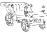 Princess Carriage Coloring Book Page Wall Sticker